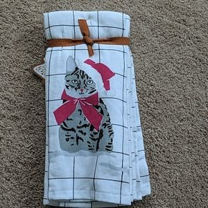 NWT- Christmas Kitty Kitchen Towels